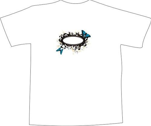 T-Shirt E153 Schönes T-Shirt mit farbigem Brustaufdruck - Logo / Grafik - verspieltes Ornament mit schönen Schmetterlingen Weiß