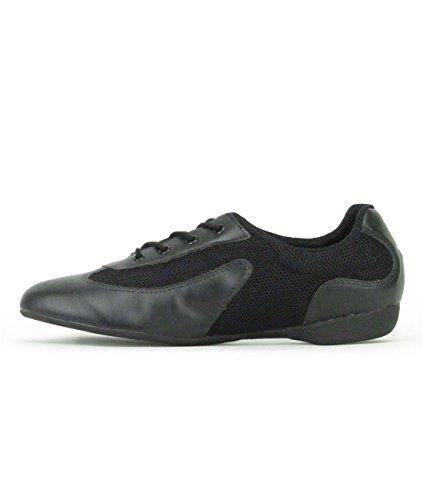 Só Dança DK30 Dance Sneaker Synthétique/Mesh Chaussures de Danse Salsa Lindy Swing Pro Trainer Sneaker semelle entières PU noir/argenté, blanc/argenté, caramel/doré, noir, rouge noir