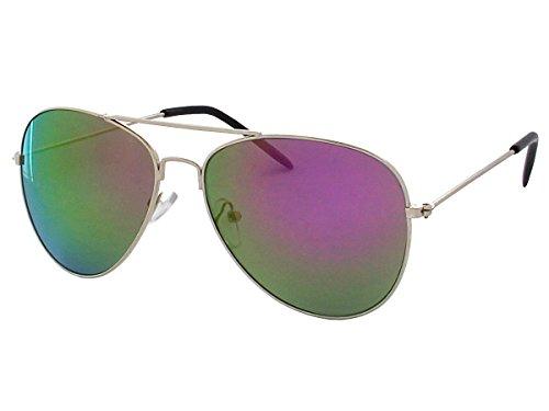 Alsino 70er 80er Jahre Retro Sonnenbrille Pornobrille Piloten brille Viper Sonnenbrillen V-705bs, Modell:silber/multi