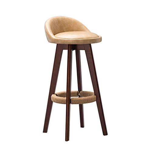 Dengzi Massivholz Hause Pu Restaurant Hocker Zurück Bar Stuhl Moderne Minimalistische Bar Stuhl Europäische Rezeption Stuhl (64/71 Cm) (Farbe : D, größe : 64cm) -