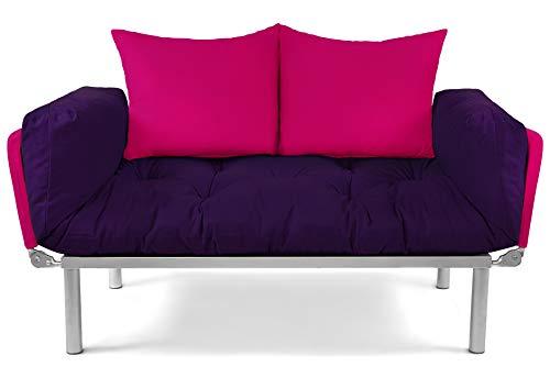 EasySitz Schlafsofa Sofa 2 Sitzer Kleines Couch 2-Sitzer Schlafsessel für Zweisitzer Personen Mein Futon Sitzen EIN Einer Farbauswahl (Aubergine & Pink)