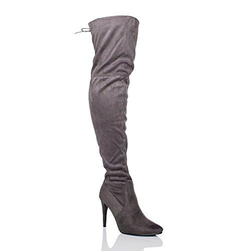Femmes talon haut au-dessus du genou élastique bottes pointues cuissardes pointure Daim gris avec lacets