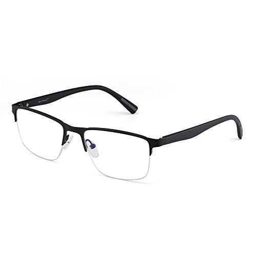 (JIM HALO Rechteck Optischer Rahmen Brille Federscharnier Metall RX-fähig Brillen Klar Linse(Glänzend Schwarz/Klar))