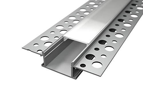 Profil en Aluminium lp3050 de 2 mt encastrable à disparition en plâtre pour double bande à lED Coque mat