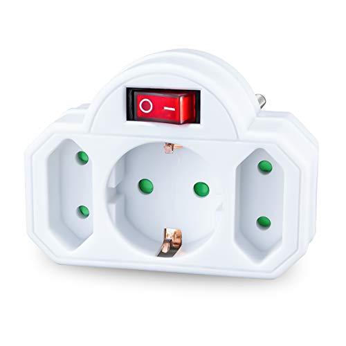 benon Mehrfachstecker weiß mit Schalter - Steckdosen-Adapter mit Kindersicherung - Doppelstecker 3500W - 3Fach Multistecker - 2X Euro- und 1x Schuko - Mehrfachsteckdose