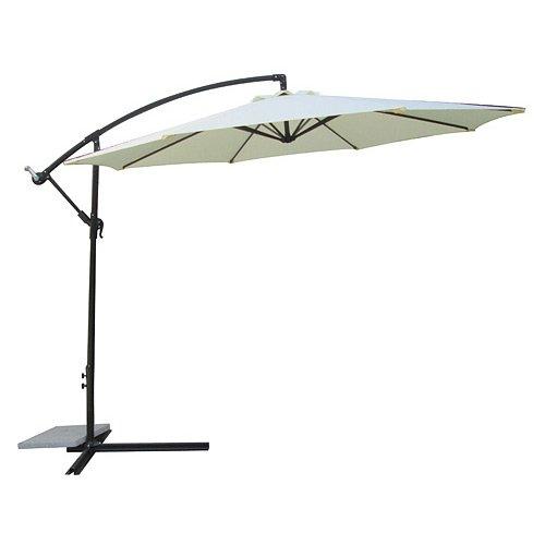 Ombrellone parasole Pamplona colore beige, con manovella, da giardino, di Jet-Line