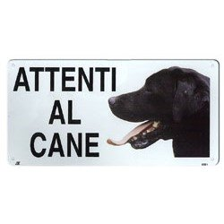 TARGA ATTENTI AL CANE LABRADOR CARTELLO IN METALLO