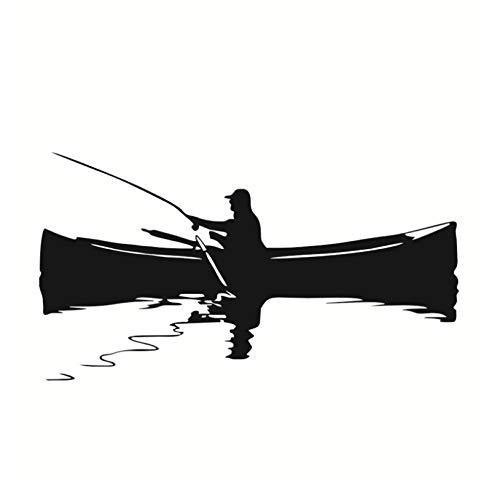 jqpwan Retro Wohnkultur Wandbild Ein Mann Angeln Auf Dem Boot Wandaufkleber Wasserdicht Art Vinyl Aufkleber Wohnzimmer Hintergrund Dekoration 59 * 109 cm - Boot-männer Wasserdichte