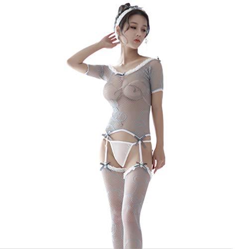 XDXDO Frauen Knospe Seide Gaze Uniform Tube Top Liebsten Sexy Dessous Strümpfe Perspektive Schwarz Versuchung Streifen Strümpfe Erotische Dessous Anzug -