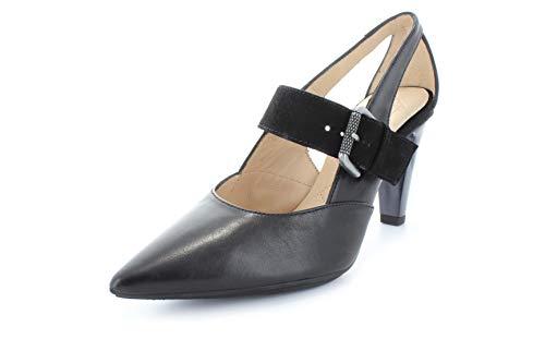Hispanitas - Zapatos de Vestir de Piel Lisa para Mujer Negro Negro, Color Negro, Talla 37 EU