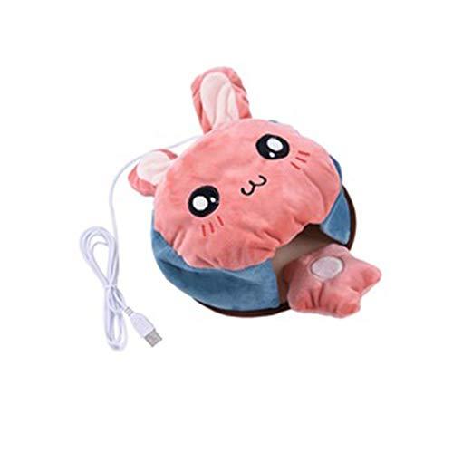 Mmyunx USB Alfombrilla De Ratón Calentador USB Cojín De Mouse Pad De Carbono Fibra De Calor Hoja De Goma De Ratón De Peluche Navegar por Internet O El Trabajo,Rabbit