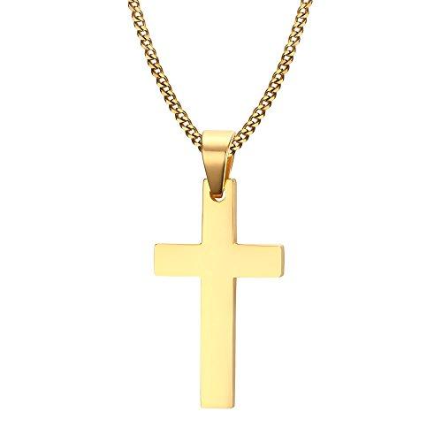 XUANPAI 18K Gold Vergoldet Edelstahl simeple Kreuz Halskette für Herren Damen, kommen mit Einer GRATIS Kette 61cm