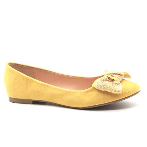 Angkorly - Damen Schuhe Ballerina - Flache - Slip-On - Bequeme - Fliege - Golden - Glänzende Flache Ferse 1 cm - Gelb LX-10 T 41 -