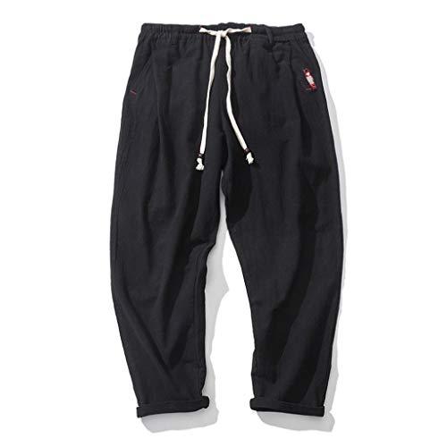 KPILP Männer Casual Herbst New Slim Große Größe Sport Hosen Knöchellangen Leinenhose Baggy Harem Knöchellangen Hosen(Schwarz, 5XL) Essentials Bootcut Jeans