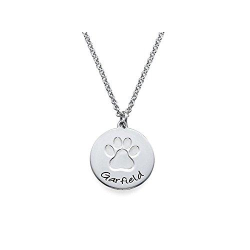FUJIN Personalisierte 925 Sterling Silber Runde Disc Dog Paw Name Anhänger Halskette Custom mit jedem Namen (Kostüm Dog Delphin)