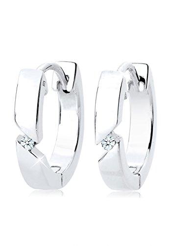 Diamore Damen Schmuck Ohrringe Creole Creolen Elegant Funkelnd Silber 925 Diamant 0,04 Karat Weiß