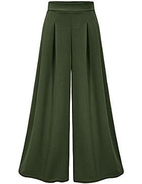 Guiran Mujer Pantalones Talle Alto Ancho Pierna Pantalones Palazzo Verano Elegante/Verde M