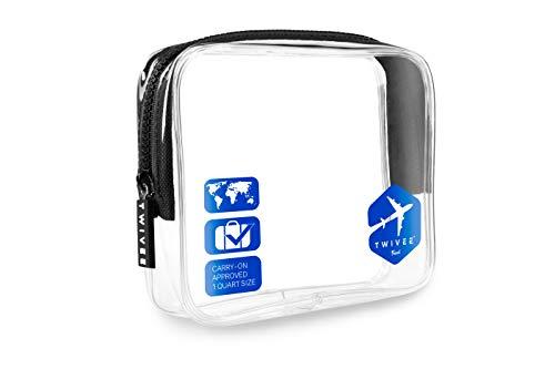 TWIVEE - Transparenter Kulturbeutel - 1 Liter - Transparent-Blau - Unisex (Tasche Für Flüssigkeiten)
