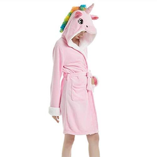 YISHU Erwachsene Einhorn Bademantel mit Kapuze Tier Kostüm Badetuch Kapuzenhandtuch Schlafanzug Nachtwäsche für Damen Herren Muster-H M