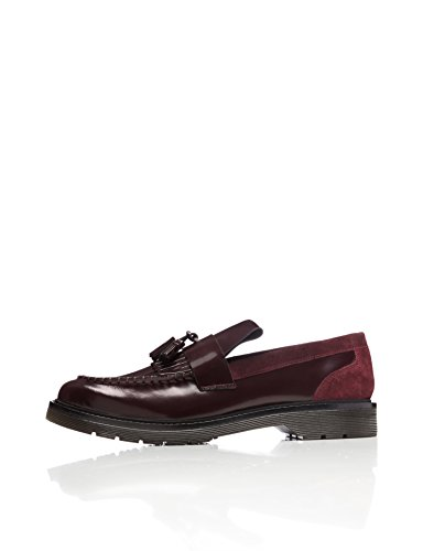 FIND Herren Loafer aus Lackleder, Rot (Burgundy), 43 EU (Loafer Signature Schuhe)