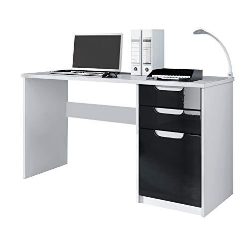 Schwarz Hochglanz Möbel (Vladon Schreibtisch Computertisch Büromöbel Logan, Korpus in Weiß matt/Fronten in Schwarz Hochglanz)