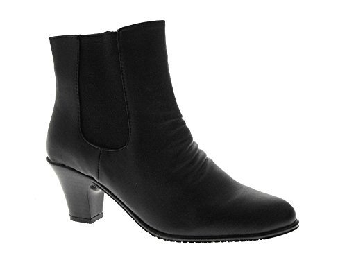 NEW WOMENS COMFORT FLEXI SOLE HIGH HEEL CHELSEA DEALER RIDING ANKLE BOOTS FAUX LEATHER LADIES GIRLS SHOES BLACK SIZE UK 5