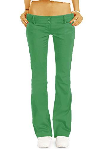 bestyledberlin BE Styled Damen Chinos - Stoffhosen - Bootcut Hüfthosen mit Stretch h17a 36/S grün - Bootcut-grün