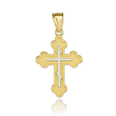 Kleine Schätze - 10 Karat Zwei-Tone Gelb Gold Russisch-orthodoxen Kreuz- Anhänger Halskette (Kommt mit einem 45 cm Kette)