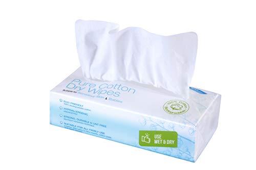 Ivyone - Toallitas Secas de Algodón, Algodón Natural y Biodegradable para Pieles Sensibles, Toallitas para Bebés, Toallitas de Maquillaje y Paños Desechables, 100 Toallitas