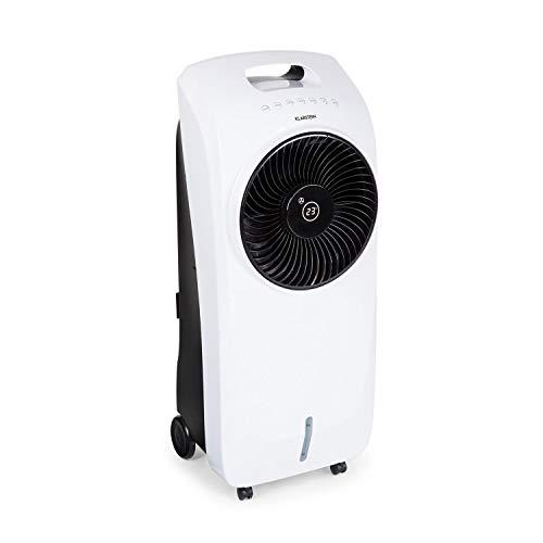 Klarstein Rotator 4-in-1-Gerät: Luftkühler, Ventilator, TACT-Ionisator und Luftbefeuchter (110 Watt, Cool Breeze, 3 Geschwindigkeiten, 3 Windarten, 8h Timer, 7 Liter Wassertank, Fernbedienung) weiß