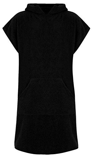 Erwachsene 100% Baumwolle Bademantel Poncho mit Tasche Herren & Damen Frottiermantel Umkleidemantel Handtuch Schwimmen Surfen - L/XL, Schwarz (mit Taschen)