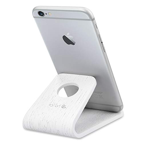 kalibri Handy Halterung Smartphone Ständer - Universal Halter kompatibel/Ersatz für iPhone Samsung iPad Tablet u.a. - Tisch Stand Dock Eichenholz - Weiß -