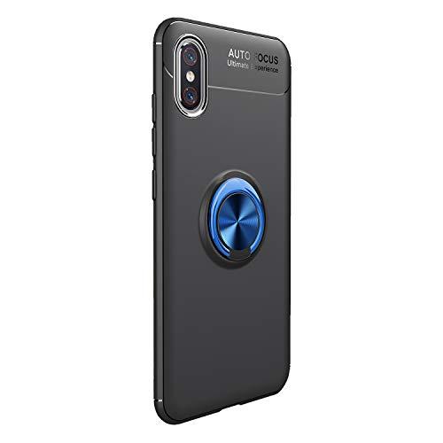 Funda Xiaomi Mi 8 Pro Carcasa Delgada Silicona Suave Negro TPU Case Anti-Arañazos, con Anillo Grip Kickstand y Soporte la función de Montaje Teléfono Case para Mi 8 Pro (Xiaomi Mi 8 Pro, Negro + azul)