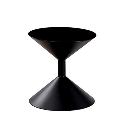 TangMengYun Côté en fer forgé en métal, table d'appoint décorative de côté de canapé de bureau de salon créatif américain (Color : Black)
