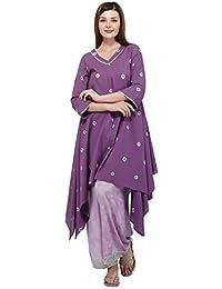 Mala Singh Raeesa Women's Kurta (Purple Dot Tie Dye)