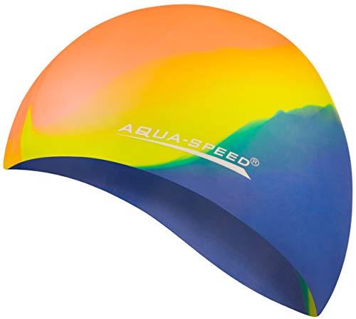 Aqua Speed® Set - BUNT Badekappe + Kleines Mikrofaser Handtuch | Silikon | Bademütze | Badehaube | Schwimmhaube | Erwachsene | Damen | Herren | Kinder, Kappen Designs:46. Bunt / 48