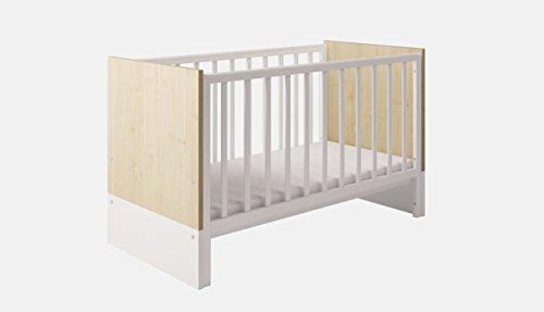 Polini Kids Kombi-Kinderbett Classic 140x70 cm Eiche-weiß Glanz, 1239.39 -