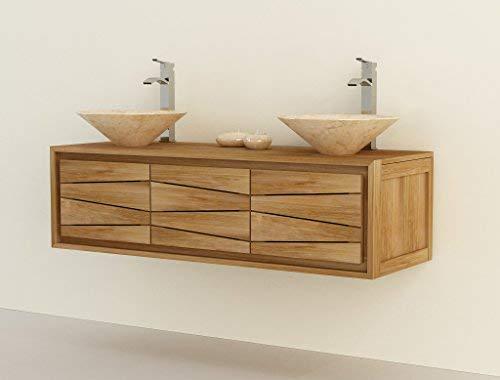 Tinggal Hängewaschtisch Bia Doppel Teak Holz Badschrank Badezimmer Badmöbel massiv 150cm KM3448 ohne Waschbecken - Holz-badezimmer Doppel-waschtisch