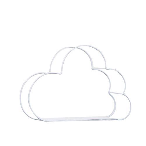 Ysoom - mensola da parete in metallo, a forma di nuvole, in ferro bianco