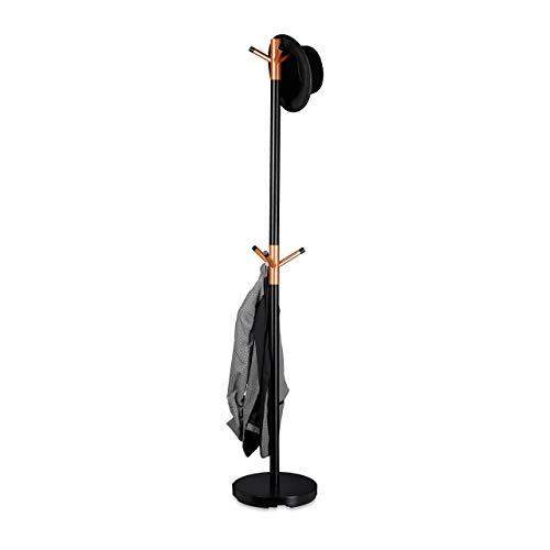 Relaxdays Garderobenständer, Kleiderständer freistehend, Flurgarderobe, Holz und Metall, HBT: 175 x 34 x 34 cm, schwarz