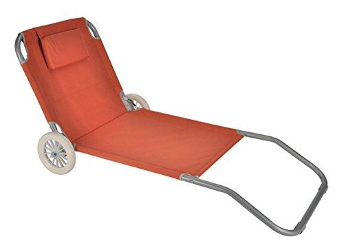 Strandliege Strandstuhl mit Rädern verstellbare Rückenlehne terracotta 64211