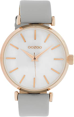 Oozoo Damenuhr mit Perlmutt Zifferblatt und Lederband 40 MM Rose/Perlmutt/Hellgrau C10143