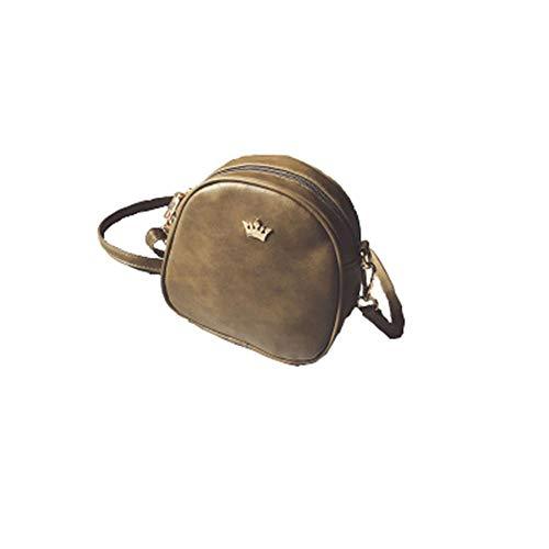 Mini Diagonale kleine Tasche, kleine runde Tasche, weiche Tasche Damen Niet Tasche grün 17 * 18 * 8cm