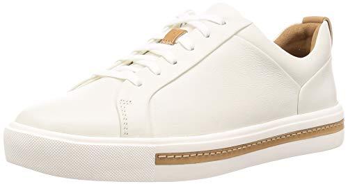 Clarks Damen Un Maui Lace Sneaker, Weiß (White Leather), 39.5 EU (Niedrige Bequeme Keil)