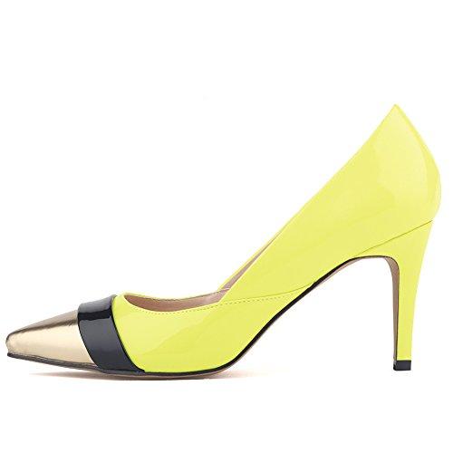 Aisun Damen Elegant Low Top Stiletto High Heels Spitz Metallic Zehen Pumps Gelb-2
