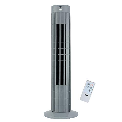 ANSIO Ventilatore a torre oscillante con telecomando e 3 impostazioni di velocità e di vento, con cavo lungo 1,75 m.30 pollici Grigio (batterie non incluse) 2 anni di garanzia