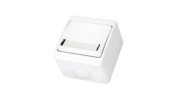 Bouton de sonnette pour pi/èces humides en saillie avec porte-nom IP54 Tout-en-un insert Cadre s/érie G1 blanc pur couvercle