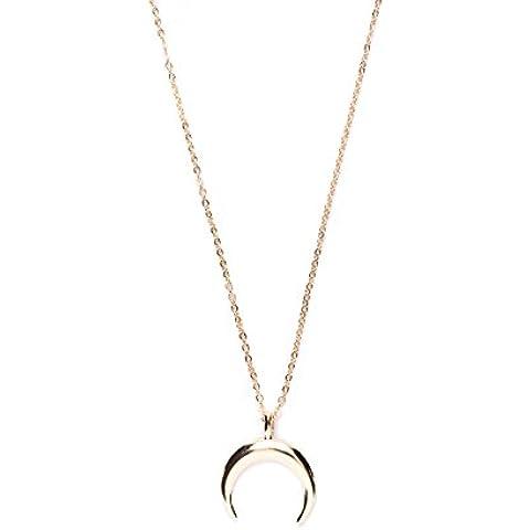 Happiness Boutique Damas Collar Media Luna en Oro   Collar Colgante Cuerno Delicado Chapado en Oro en Estilo Minimalista Libre de Níquel