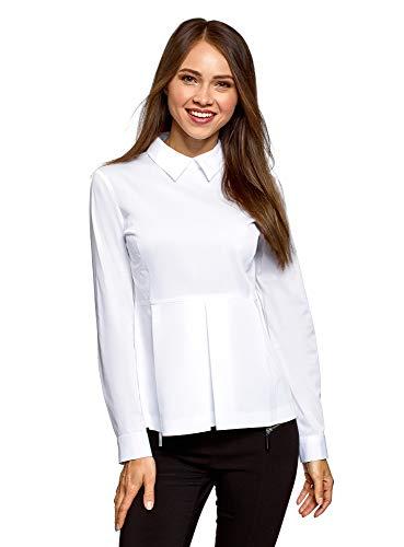 Oodji ultra donna camicetta in cotone con peplo, bianco, it 48 / eu 44 / xl