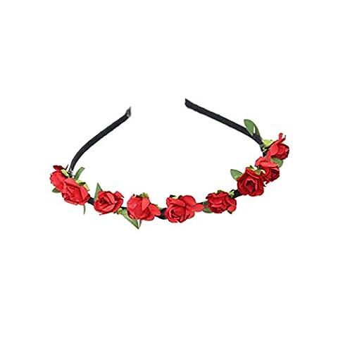 DesiDo® Floraler Haarreif Blumen Haarspange Blumenkranz Blumenkrone Kopfband Stirnband Blumen Hippie Flower Festival Hochzeit Haarkranz Boho Blumenstirnband (Rot)